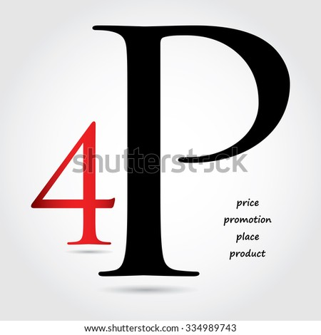 special marketing mix design - 4P design - stock photo