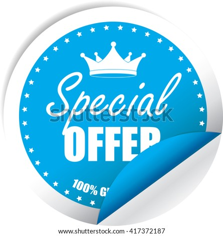 Special Offer Blue Label, Sticker, Tag, Sign And Icon Banner Business Concept, Design Modern. - stock photo