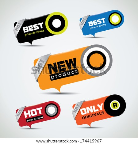 Special offer bubbles in vibrant color variations with different promotional text  - stock photo