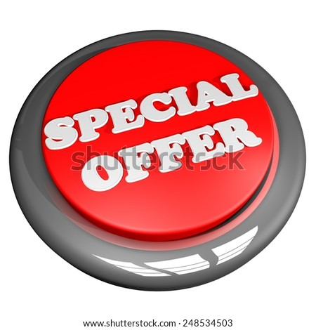 Special offer button, isolated over white, 3d render - stock photo