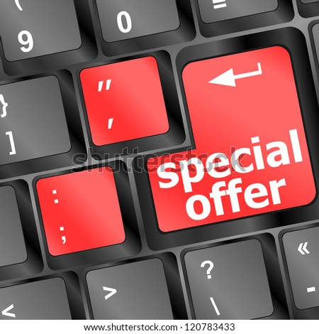 special offer button on computer keyboard, raster - stock photo