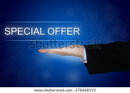 special offer button with business hand on blue background - stock photo