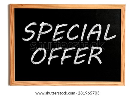 Special Offer Chalk Text on Chalkboard with Wooden Frame on White - stock photo