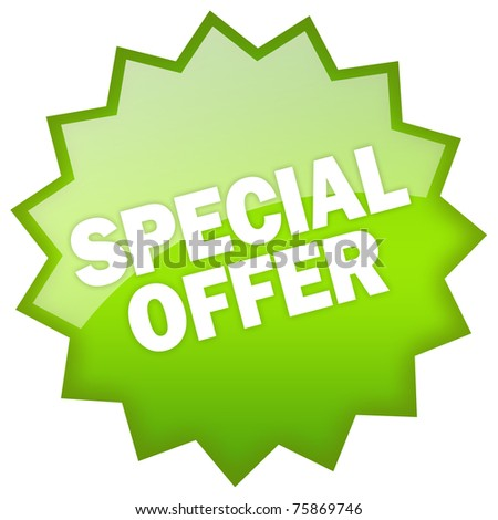 Special offer green label - stock photo