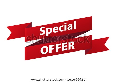 Special offer red ribbon banner icon isolated on white background. Illustration - stock photo