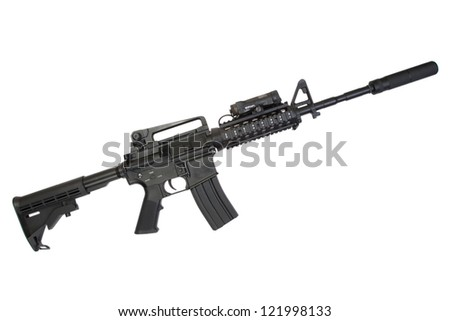 special operation carbine with silencer on white background - stock photo