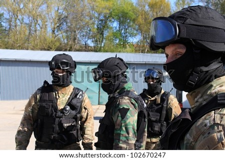 special police commandos are training terrorists detained - stock photo