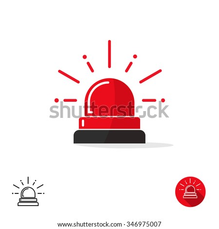 Special police flasher light emergency department ambulance accident tow snow removal logo sign symbol. Police red flasher siren sign flat style icon with scatter lined rays. Outline round icons image - stock photo