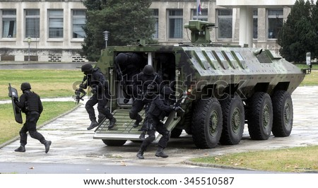 Special police SWAT team - stock photo