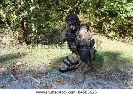 special police unit training, shooter swat, assault rifle sa58, caliber 7,62 mm - stock photo
