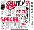 special price crazy doodles isolated on white background - stock photo