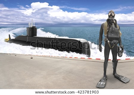 Special-purpose units of the navy are designed for special events with the use of special tactics and tools diver with submarine  - stock photo