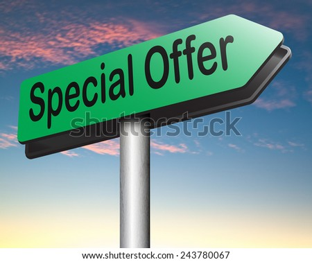 special sales offer road sign exclusive bargain promotion low hot price best value and deal  - stock photo