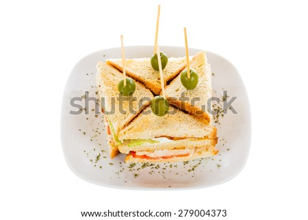 Special sandwiches with grilled chicken meat and olives. - stock photo