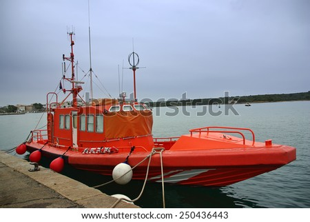Specialized boat for sea rescue in the Mediterranean Sea - stock photo