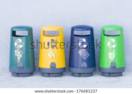 Specially designed bins for recycling  - stock photo