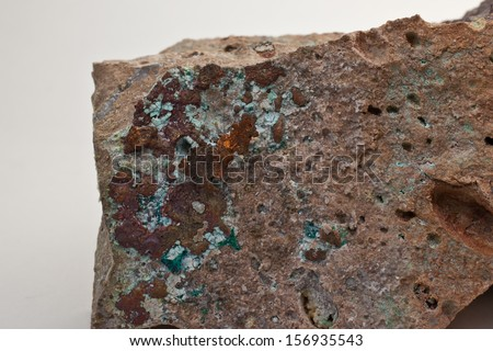 Speciment of natural cooper on volcanic rock - stock photo