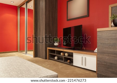 Specious hotel bedroom interior  - stock photo