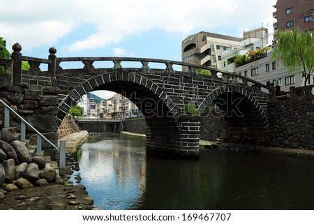 Spectacles Bridge Nagasaki - stock photo