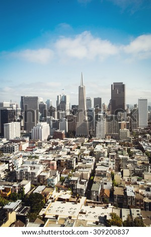 Spectacular aerial panorama of San Francisco Financial District made from the top floor of Coit tower on sunny day, California  - stock photo