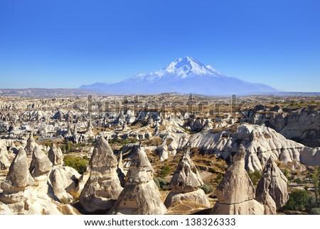 spectacular Cappadocia next to Erciyes Mountain - stock photo