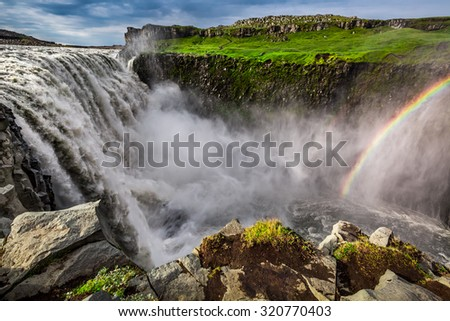 Spectacular Dettifoss waterfall in Iceland - stock photo