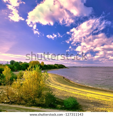 Spectacular evening over the lake - stock photo