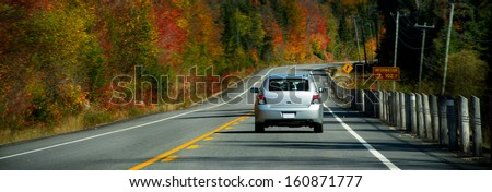 Spectacular fall foliage in the Algonquin - stock photo