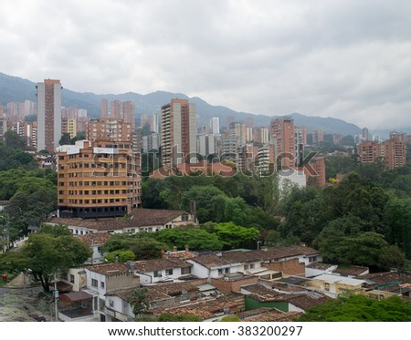 Spectacular panorama of modern South American city Medellin, Col - stock photo