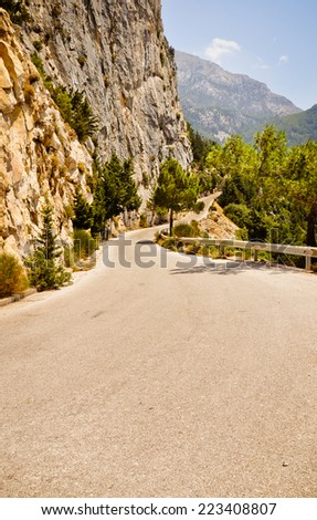 Spectacular road through the mountains of Samos island, Greece - stock photo