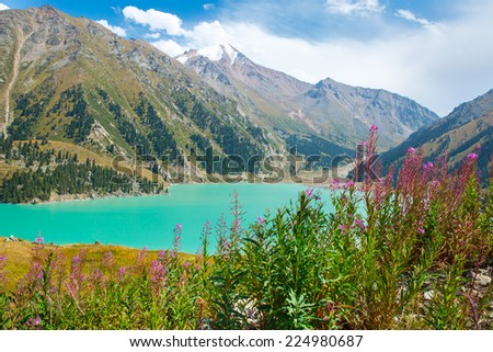 Spectacular scenic Big Almaty Lake ,Tien Shan Mountains in Almaty, Kazakhstan,Asia at summer - stock photo