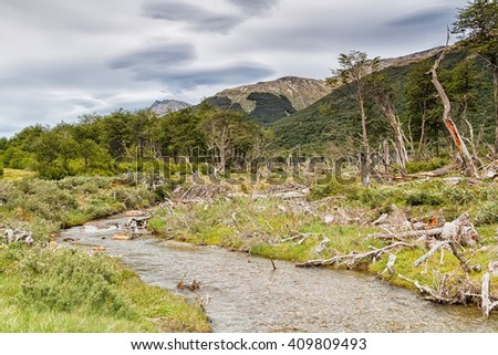 Spectacular scenic Laguna Esmeralda, Ushuaia, Tierra del Fuego, Patagonia, Argentina, South America - stock photo
