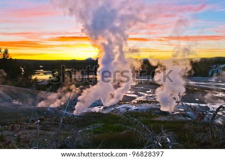 Spectacular Shot of Norris Geyser Basin after sunset - stock photo