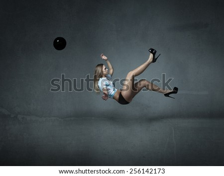 spectacular soccer kick - stock photo