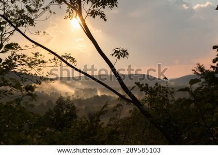 Spectacular sunset in Istria, Croatia - enhanced colors - stock photo
