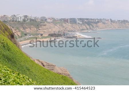 Spectacular view at Miraflores Lima sea costline. - stock photo