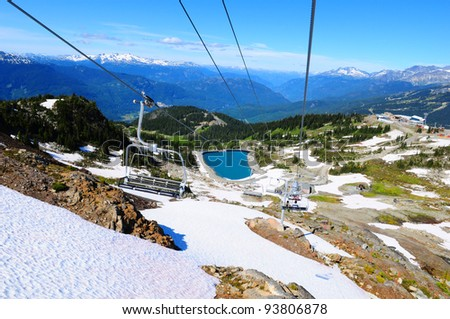 Spectacular view from chairlift on Whistler Mountain, Canada - stock photo