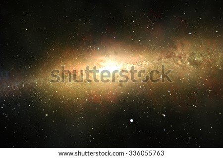 Spectacular view of a glowing galaxy, consisting of planets, star systems, star clusters and types of interstellar clouds. Space dust - stock photo