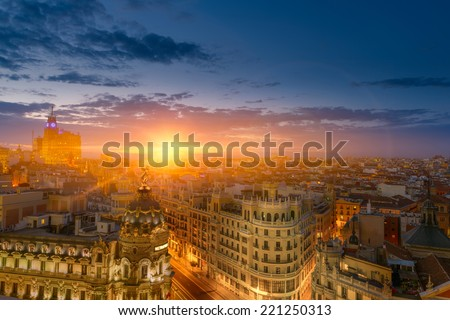 Spectacular view of Madrid at dusk - stock photo