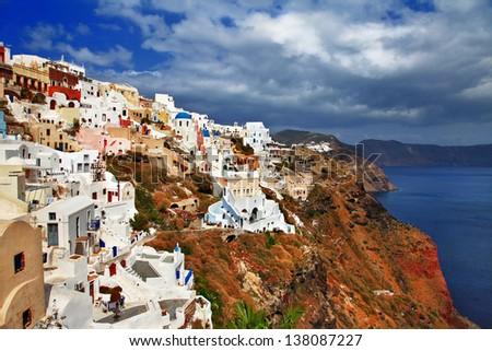 spectacular view of Santorini - stock photo