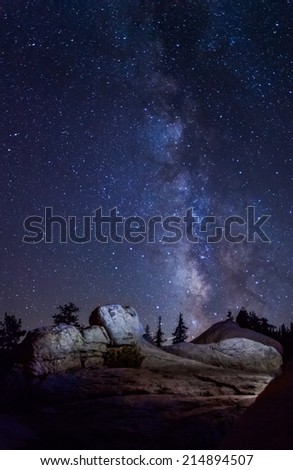 Spectacular view of the Milky Way at Glacier Point in Yosemite National Park - stock photo