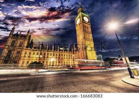 Spectacular view of Westminster palace and Big Ben by night. - stock photo