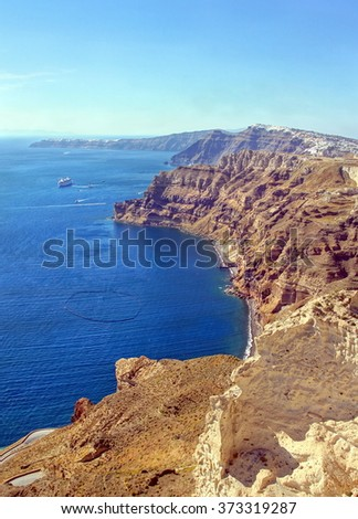 Spectacular view over the cyclade Island of Santorini and his volcanic caldera , Greece - stock photo