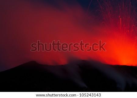 spectacular volcano eruption - stock photo