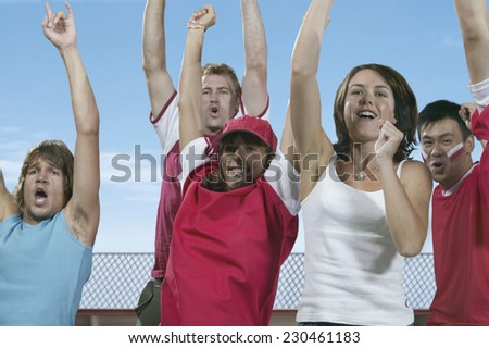 Spectators Cheering at a Sporting Event - stock photo