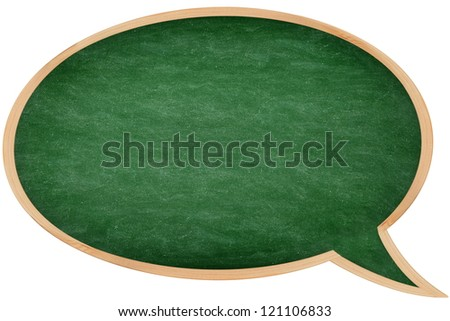 Speech bubble chalkboard / blackboard with frame isolated on white background. Great texture. From photo. - stock photo
