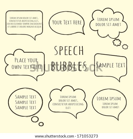 Speech bubble collection. Set of  hand-drawn speech and thought bubbles with sample text isolated on beige background. Raster copy - stock photo