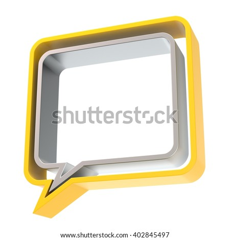 Speech bubble. 3D illustration isolated on white background - stock photo