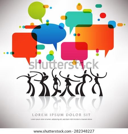 Speech Bubble Dance Background With Text Space - stock photo