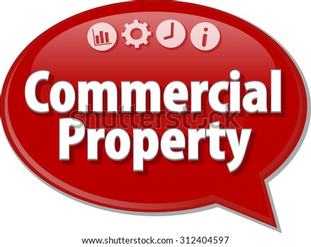 Speech bubble dialog illustration of business term saying Commercial Property - stock photo